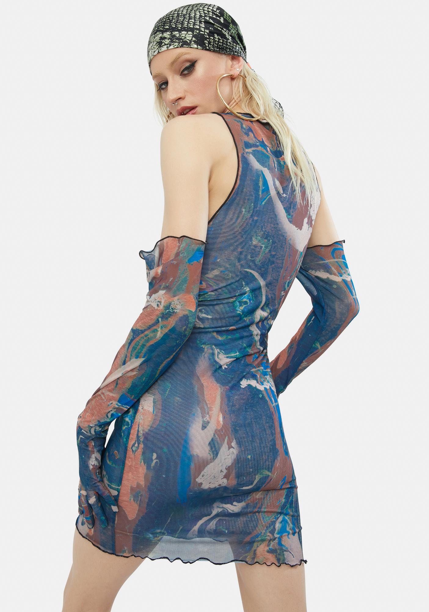 Jaded London Marble Print Cold Shoulder Glove Detail Mesh Mini Dress