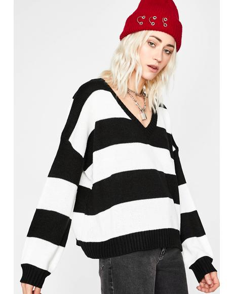 Highkey Baddie Striped Sweater