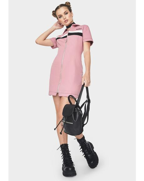 Stripe Panel Fitted Shirt Dress