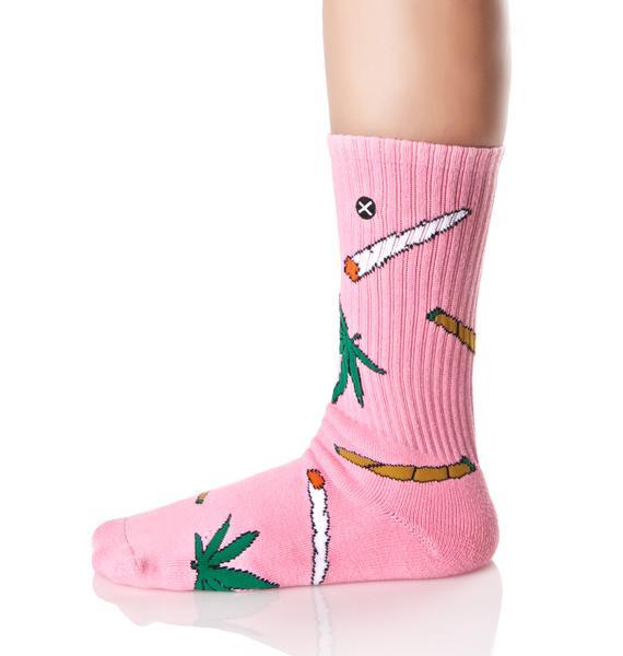 Odd Sox Pink Weedies Socks