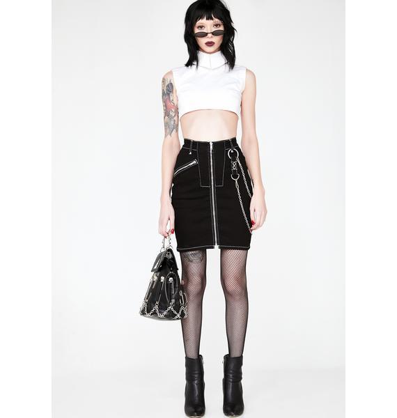 Disturbia Discord Denim Skirt