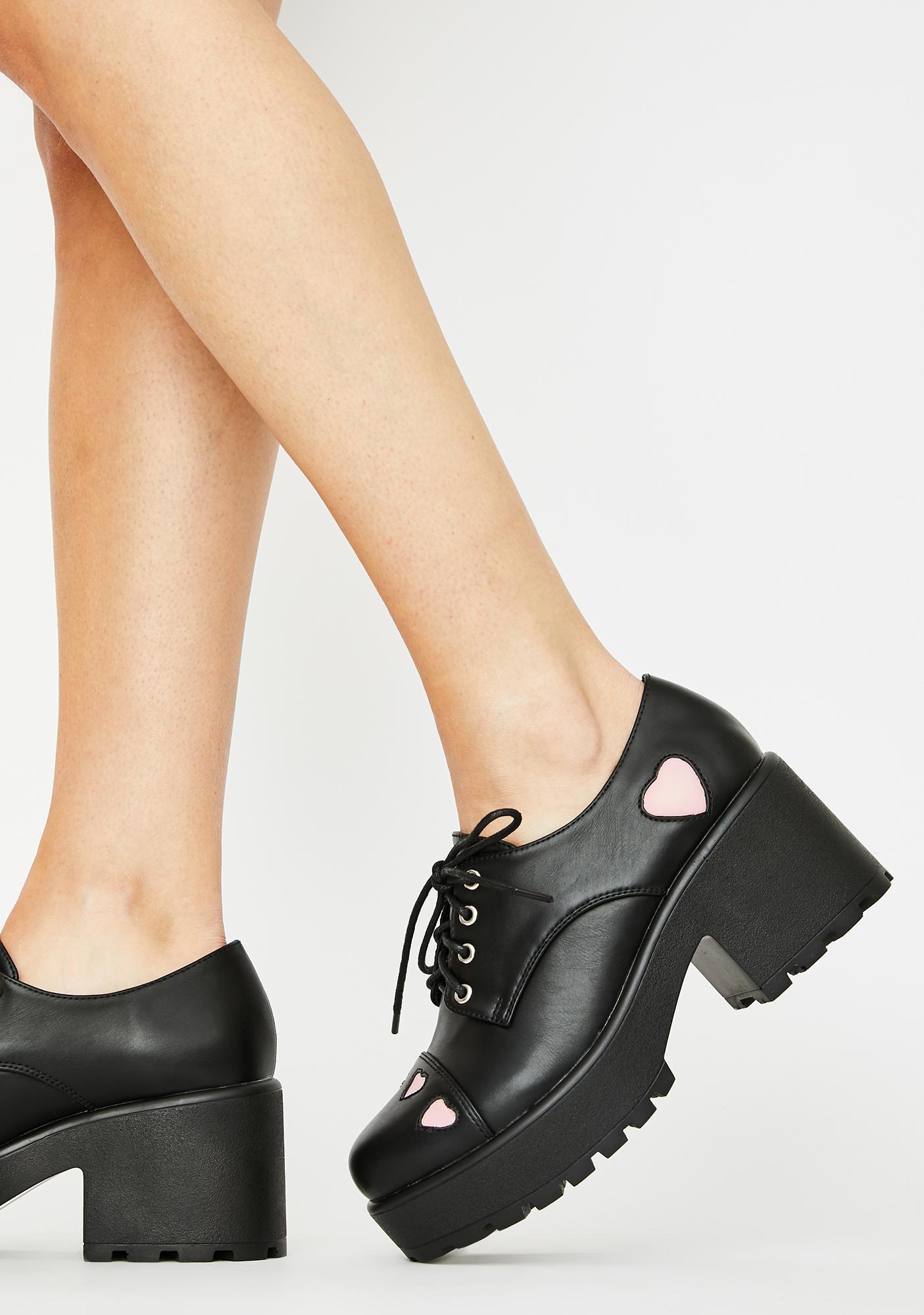 Koi Footwear Pink Heart Tennin Platform Oxfords