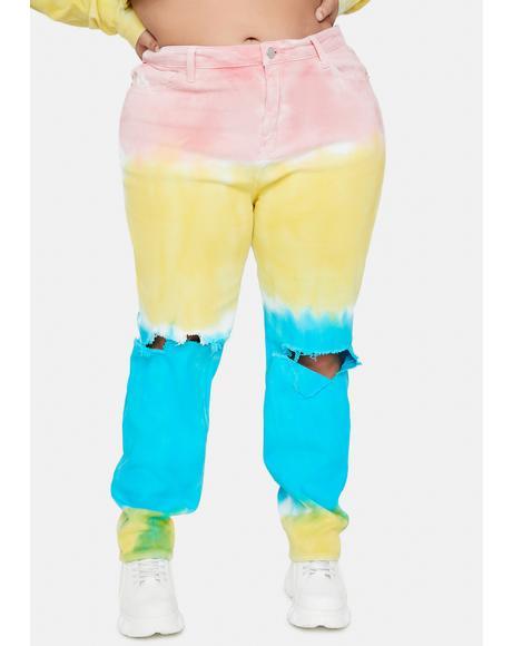 Luxe Sun Dance Tie Dye Jeans