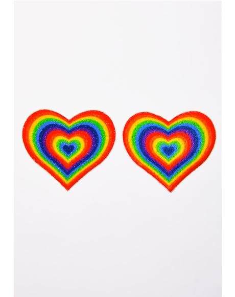 Velvet Rainbow Pumping Heart Pasties