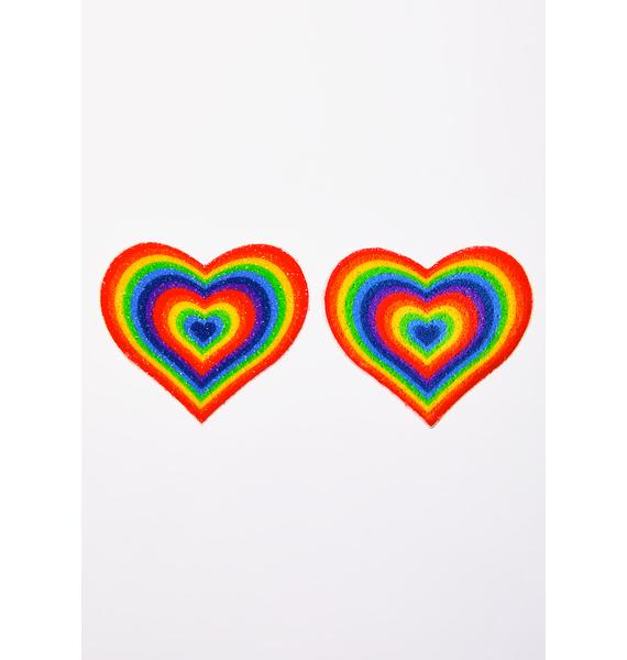 Pastease Velvet Rainbow Pumping Heart Pasties
