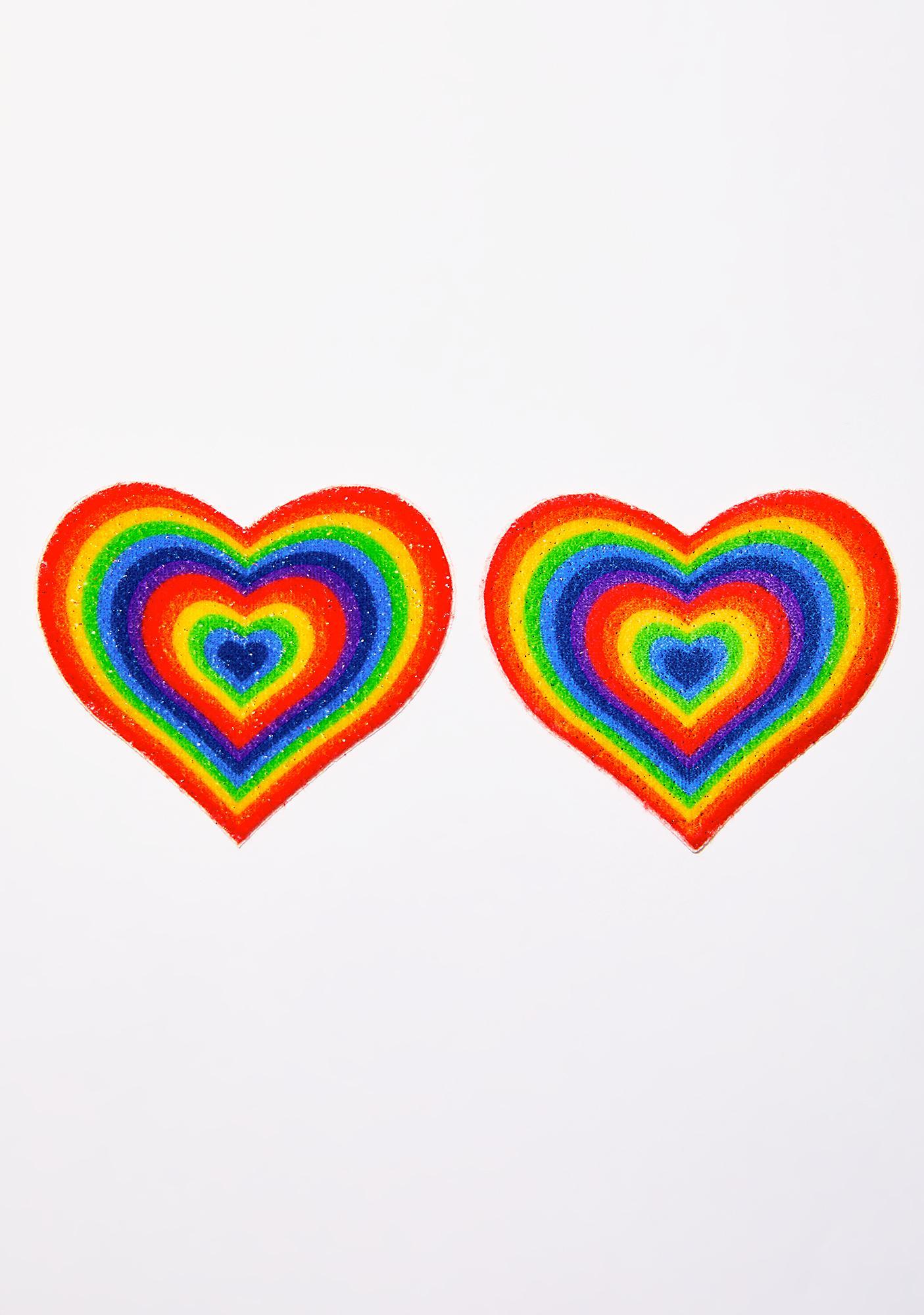 Pastease Velvet Rainbow Pumping Heart Pasties