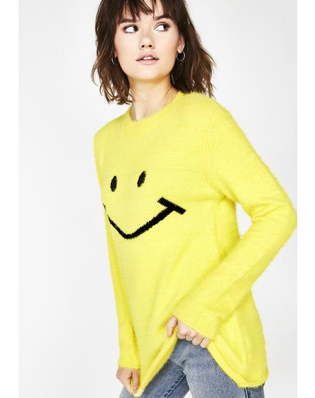 Smile Mania Fuzzy Sweater