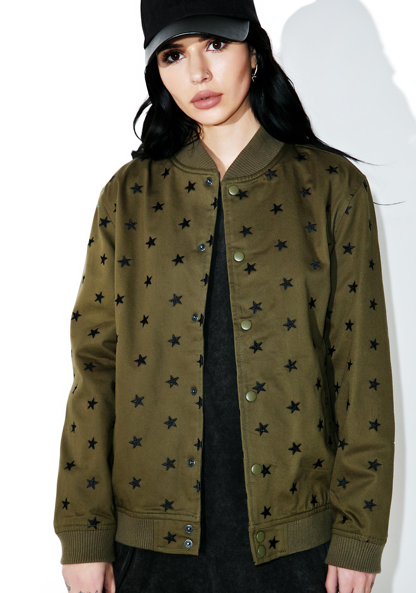 Black Scale Star Embroidered Varsity Jacket