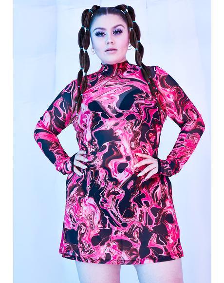 Divine Lady Acid Dimension Mesh Dress