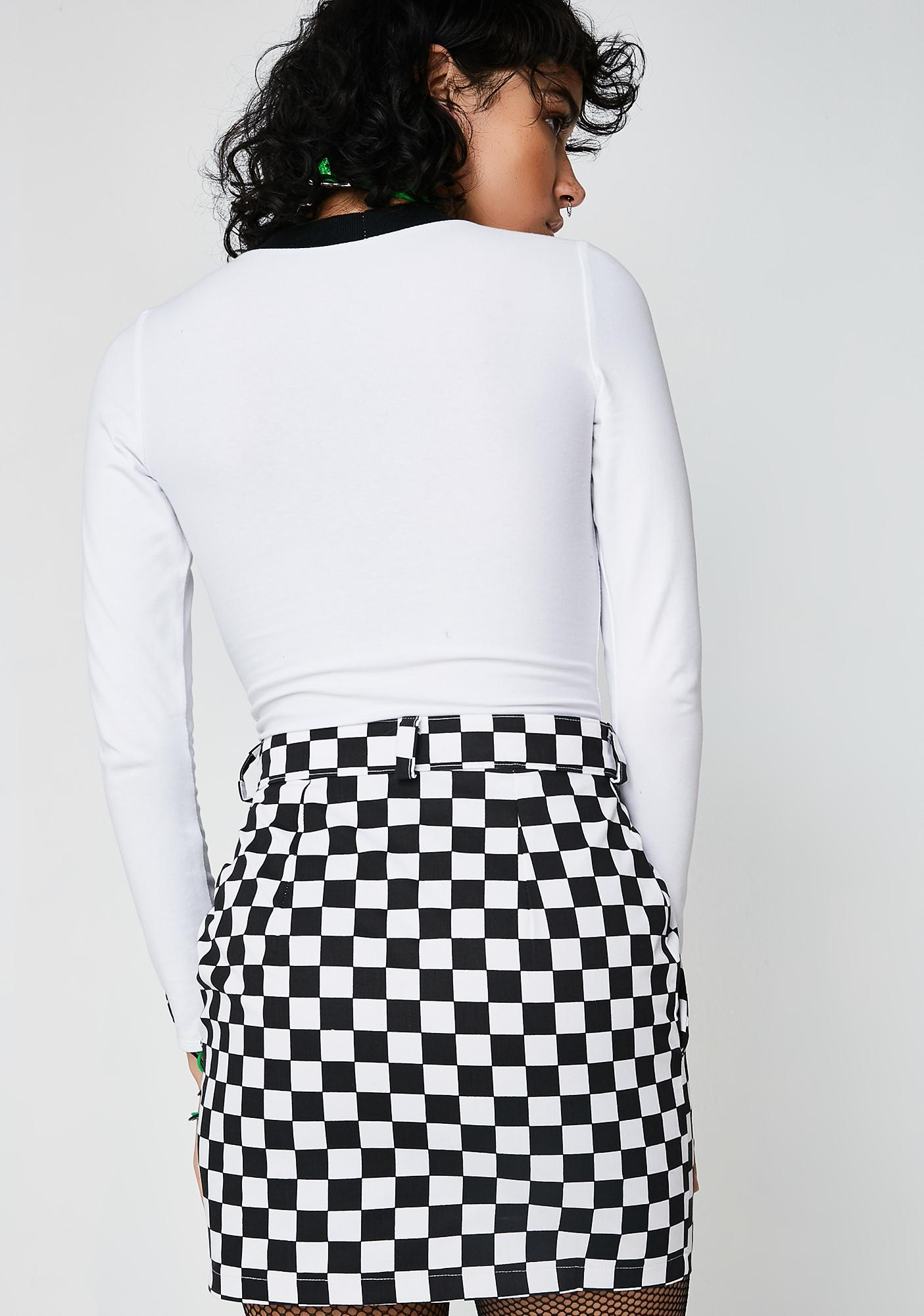 LOVE TOO TRUE Checkered Mini Skirt