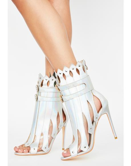 Hologram Gladiator Heeled Booties