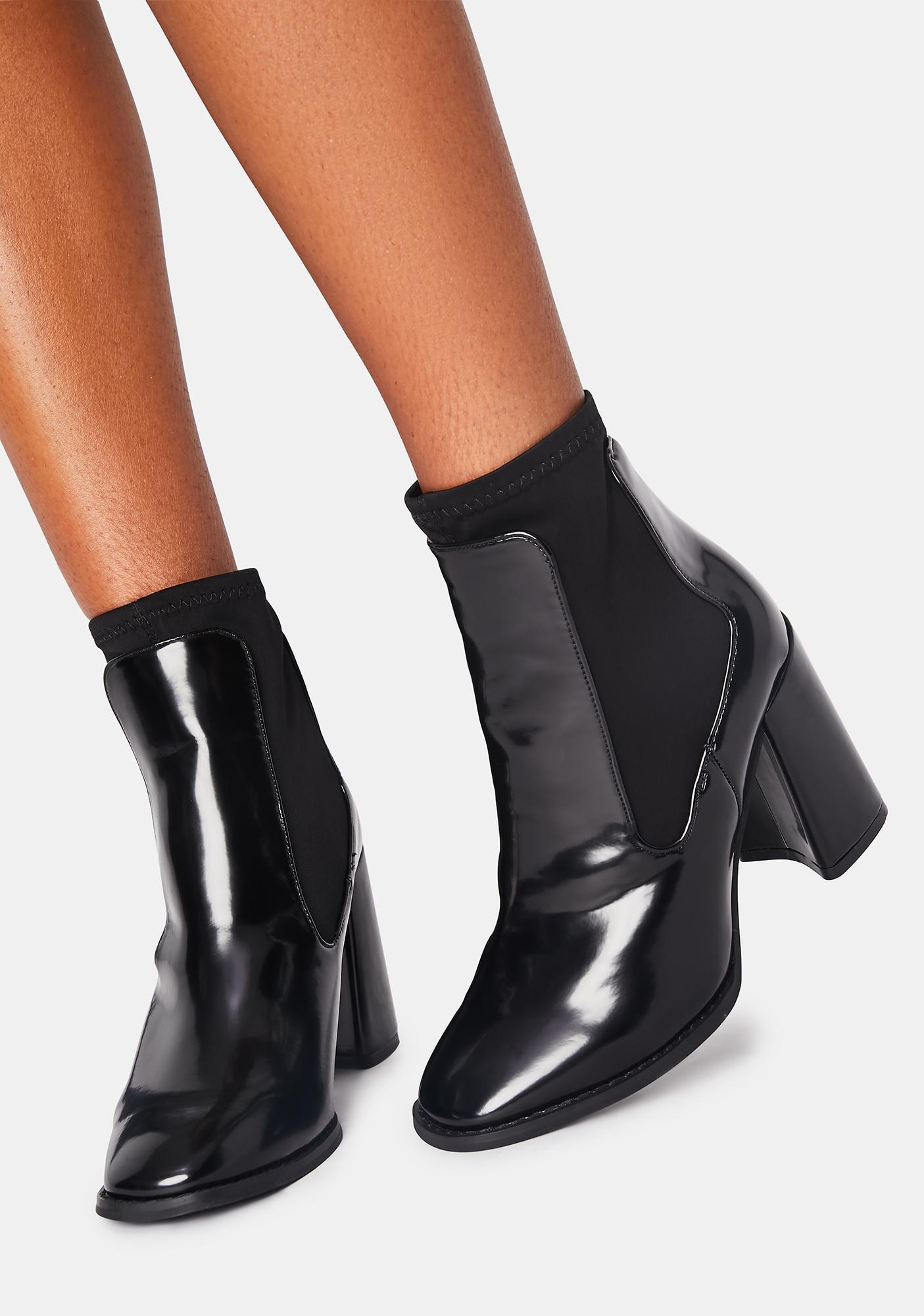 Noir Toe The Line Ankle Boots