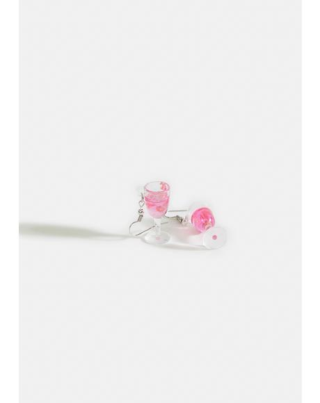 Rose All Day Wine Glass Earrings