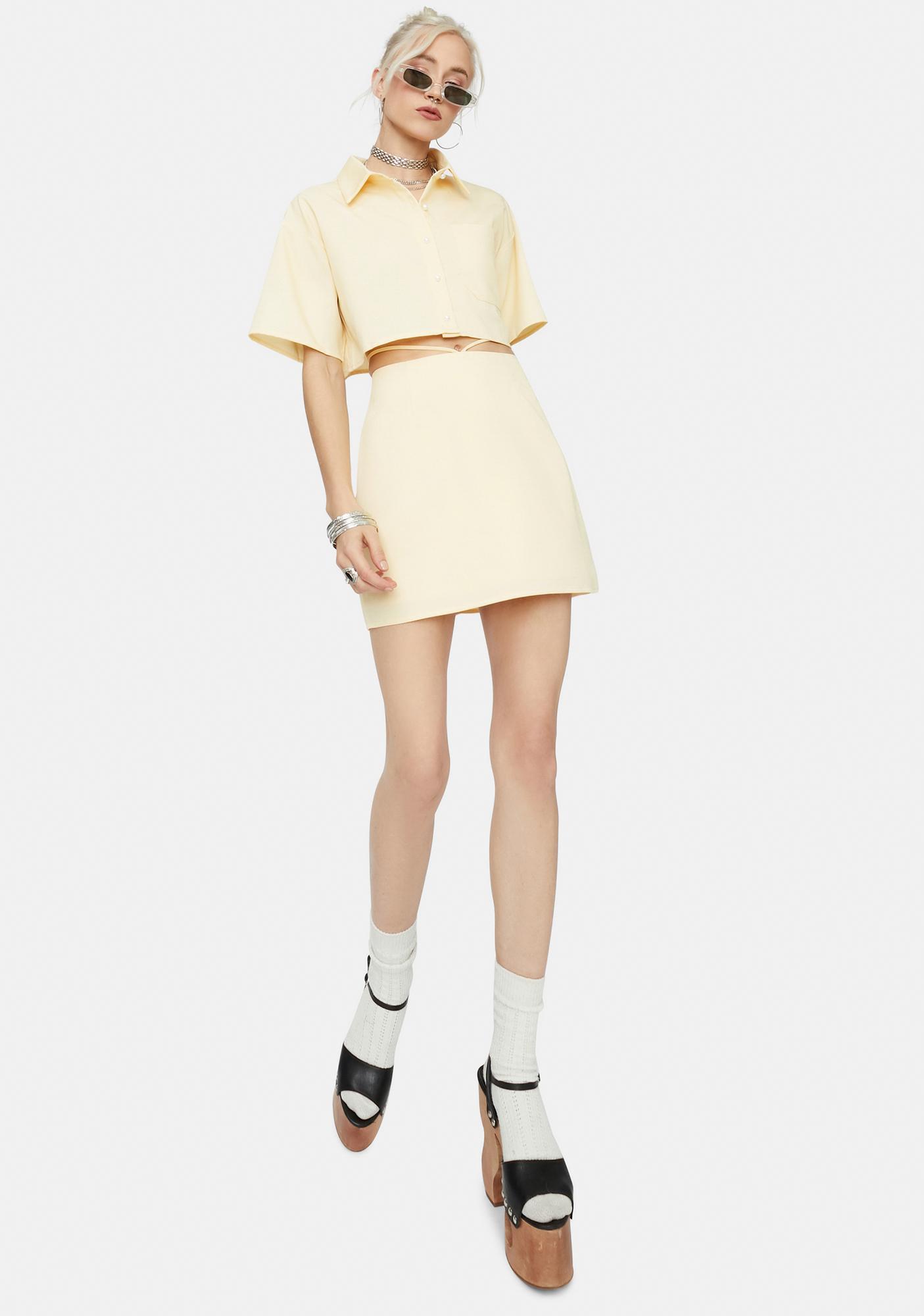 Friend Of Mine Tie Waist Mini Skirt