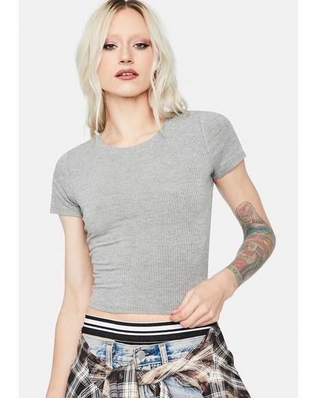 Smoke Basic Bliss Ribbed Crop Tee
