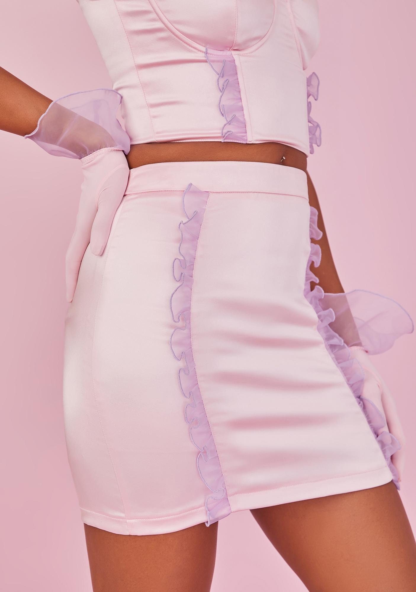 Sugar Thrillz Sitting Pretty Satin Ruffle Skirt