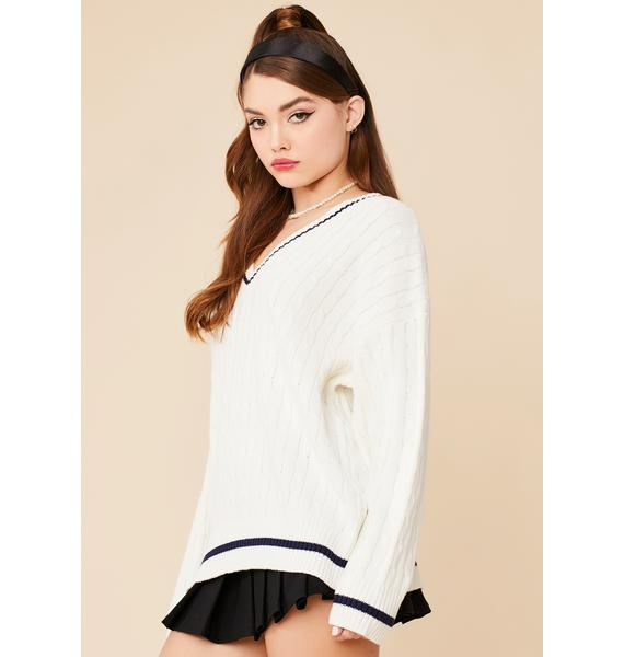 Blanc Catch Me On Campus Knit Sweater