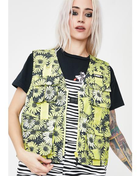 Daisy Floral Utility Vest