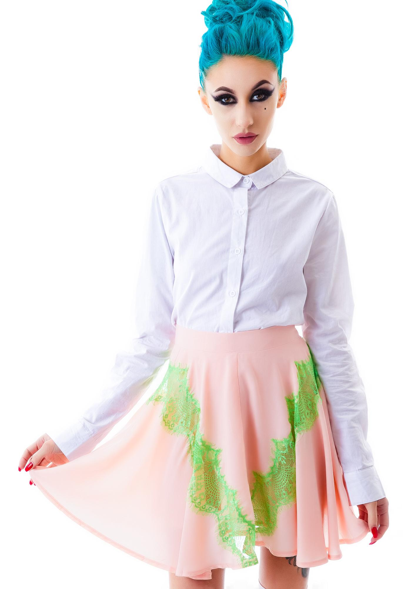Watermelon Lace Skater Skirt