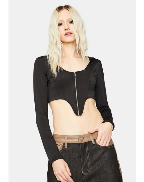 Real Talk Hooded Long Sleeve Crop Top