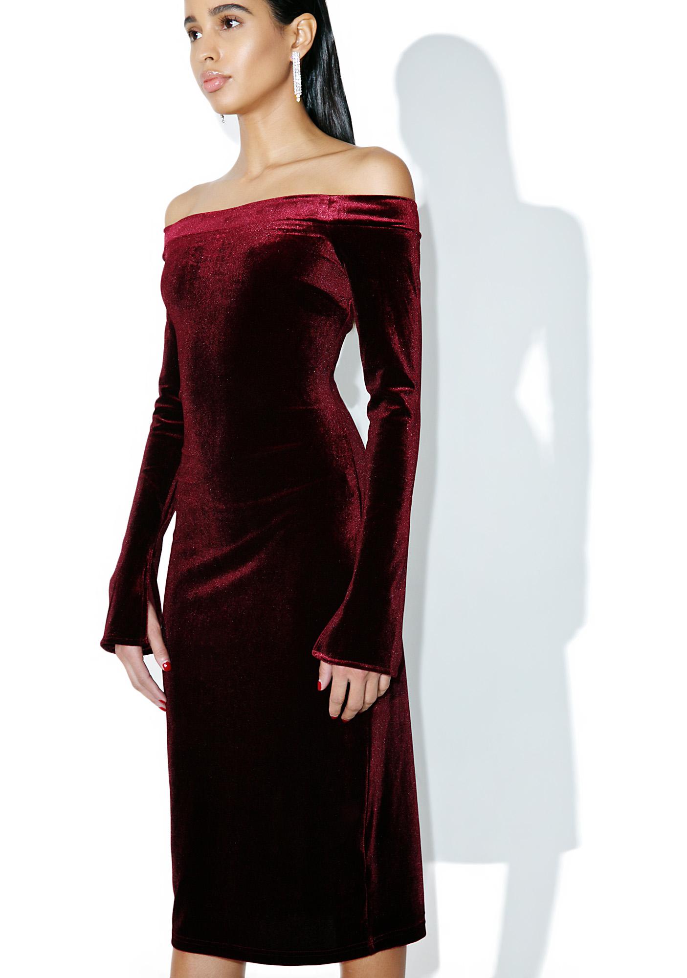 Velvet Crimson Off Shoulder Bodycon Dress