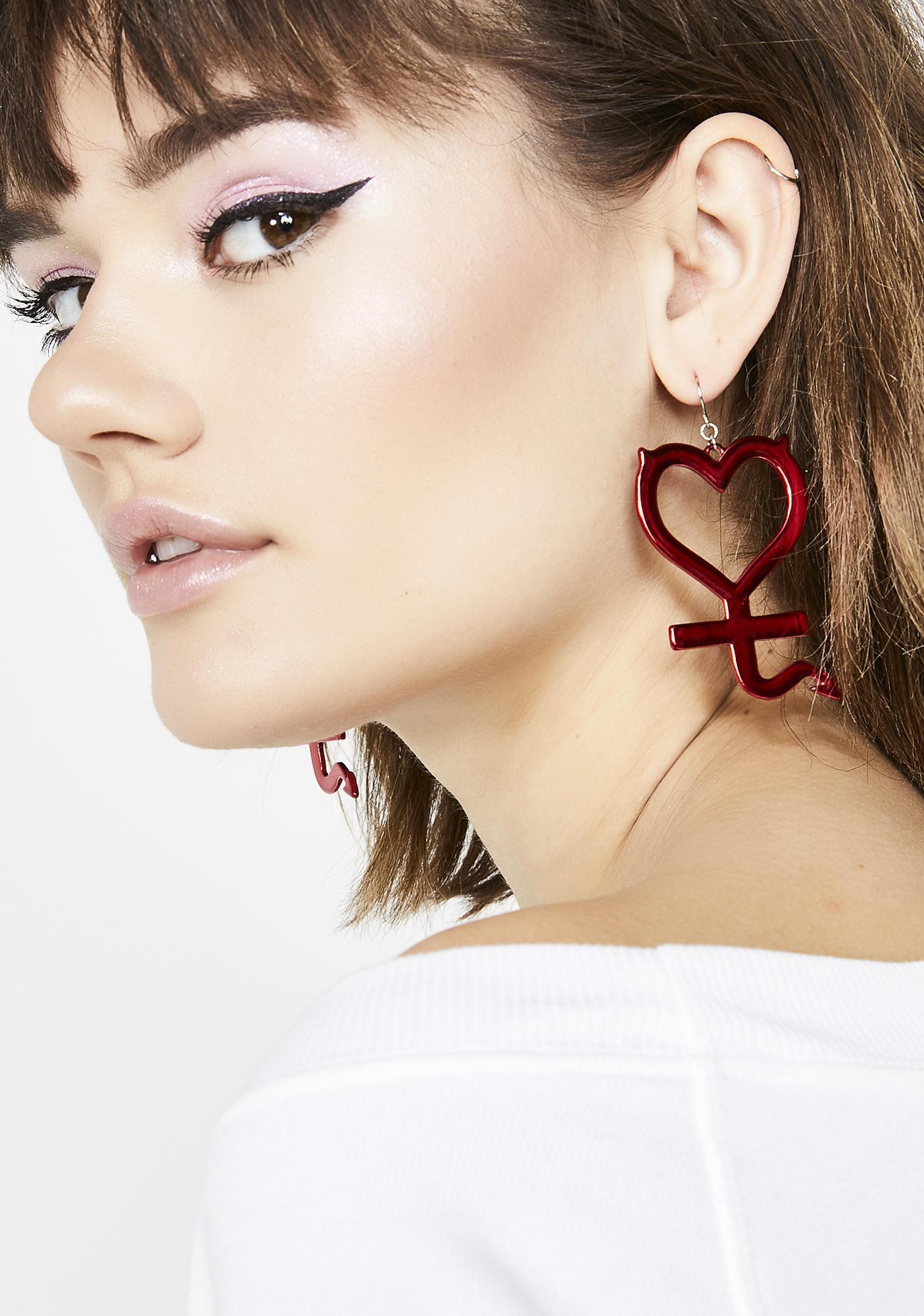 Devilish Lover Heart Earrings