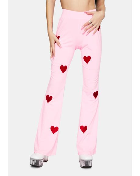 Embroidered Heart Pink Flare Pants