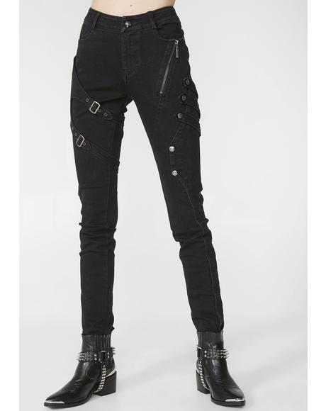 Punk Floral Denim Trousers