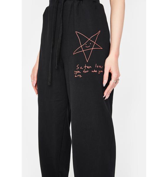 Long Clothing Satan Loves You Jogger Sweatpants