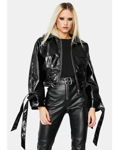 Untamed Love Vegan Leather Bomber Jacket