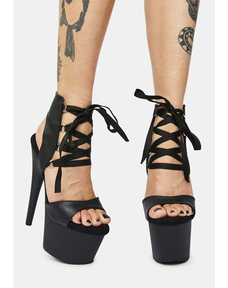 Bow Down Lace Up Platform Heels