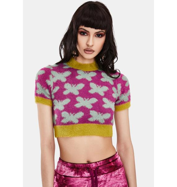 BADEE Butterfly Jacquard Knit Top