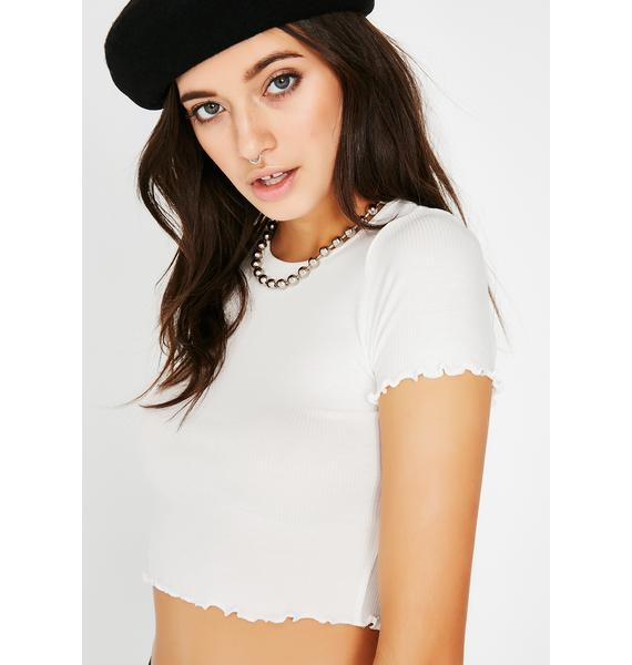 Icy All That Werk Ruffle Crop Tee