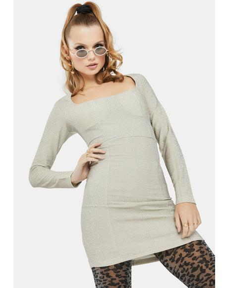 Silver Glitter Bodycon Dress