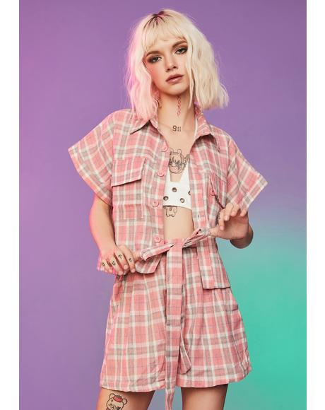 Cotton Candy Plaid Tie Waist Shorts Set