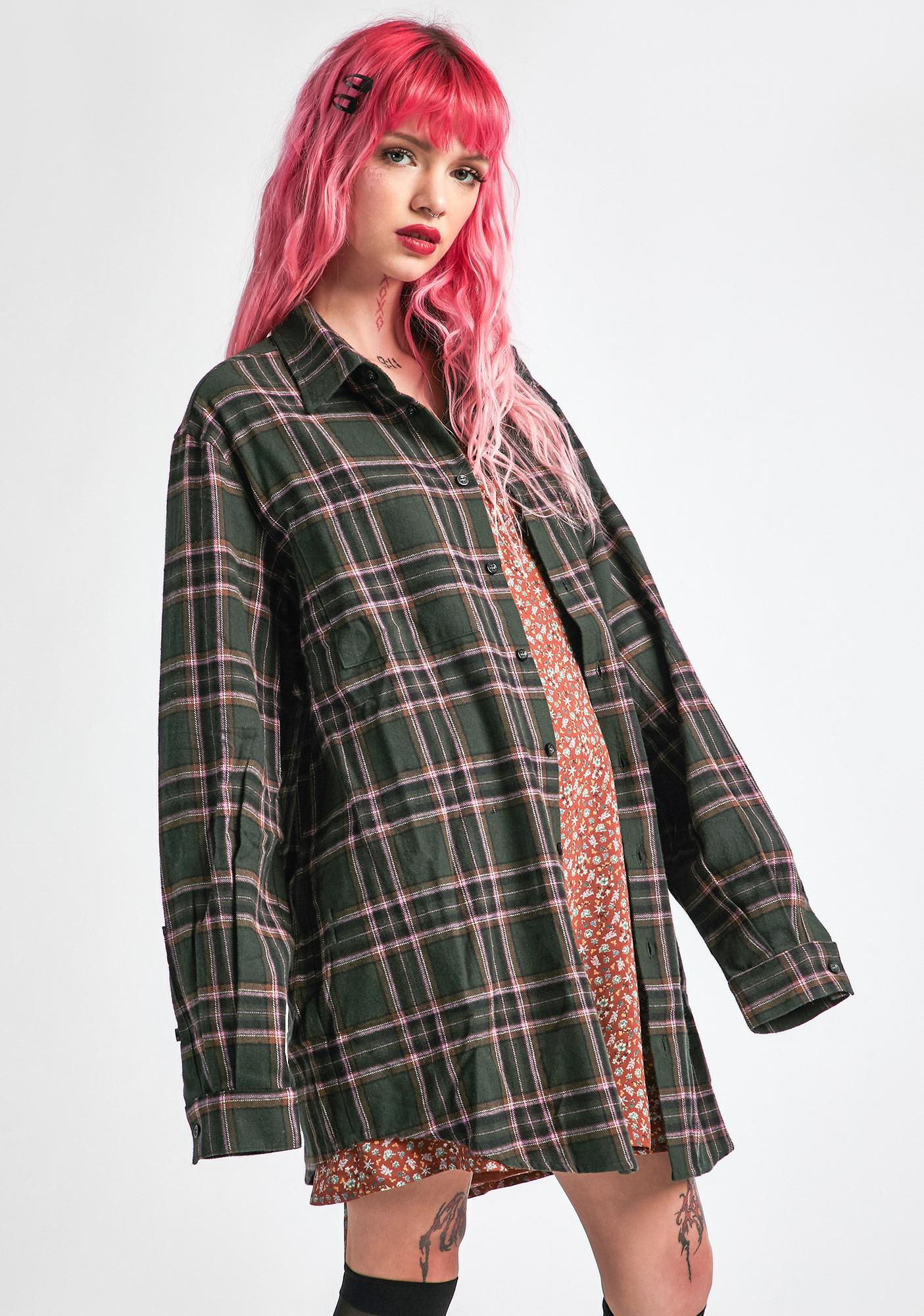 dELiA*s by Dolls Kill Dreaming My Dreams Flannel Shirt