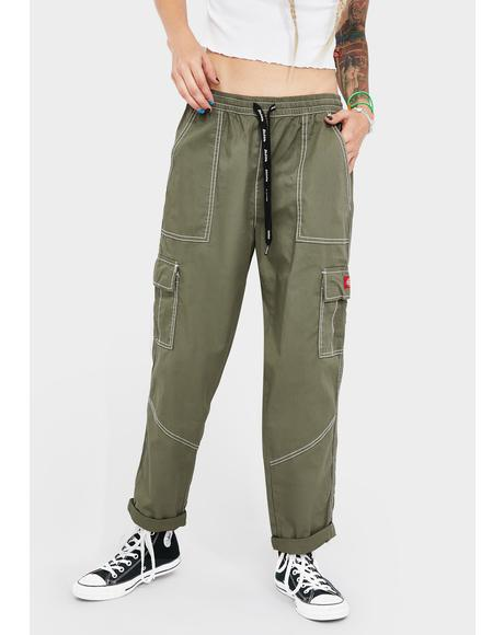 Olive Cuffed Cargo Pants