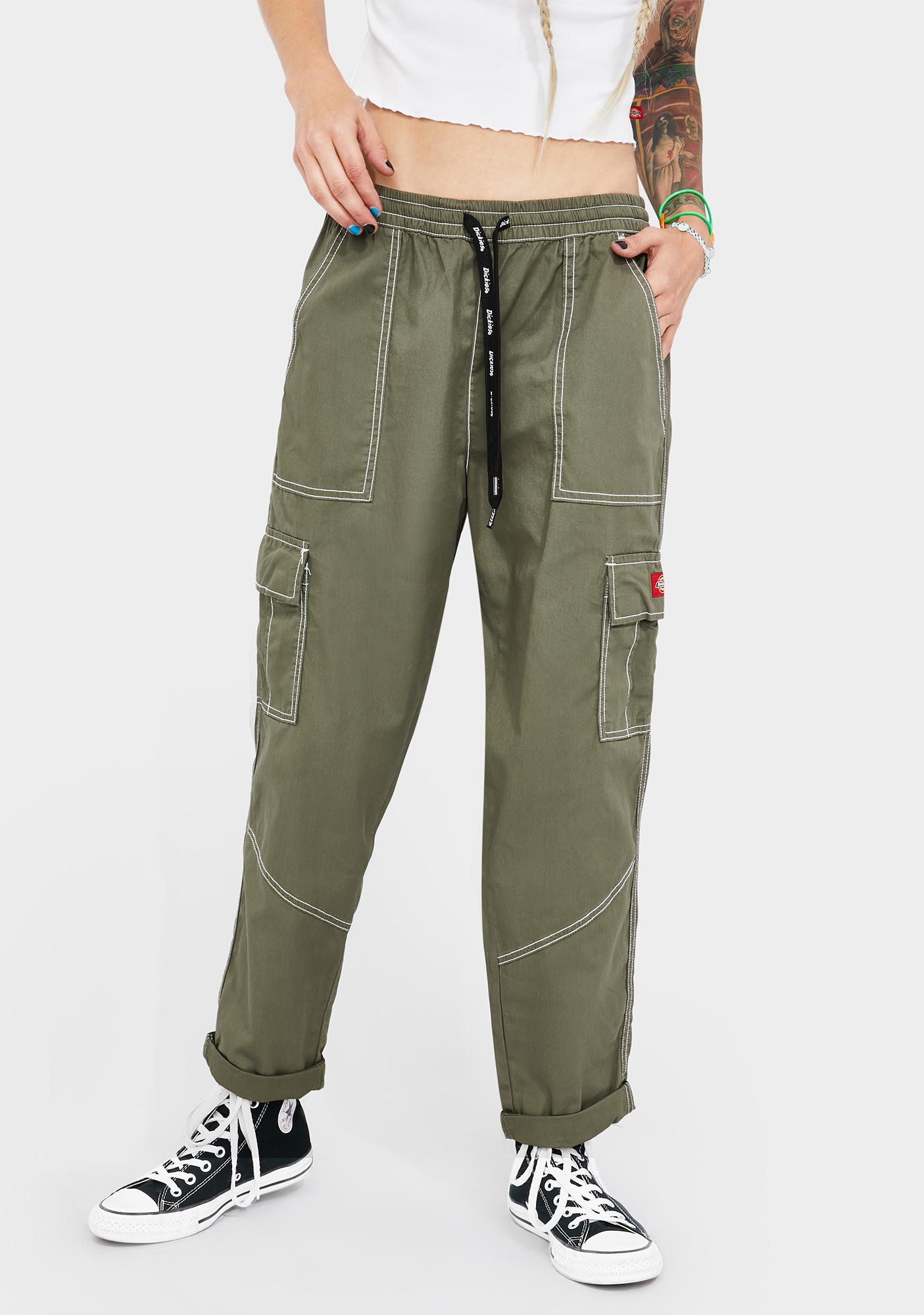 Dickies Girl Olive Cuffed Cargo Pants