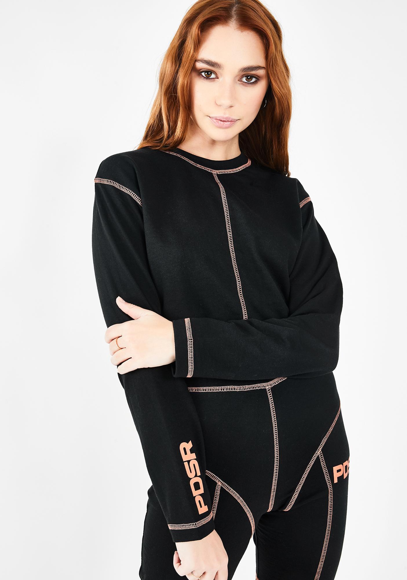 Public Desire Contrast Stitch Crop Sweatshirt