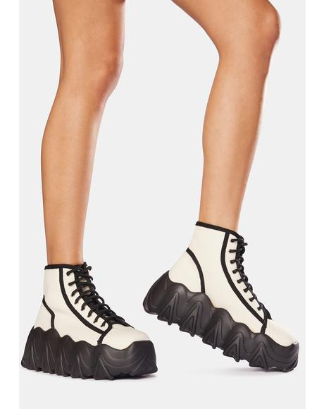 White Sneakin' Away Chunky Platform Sneakers