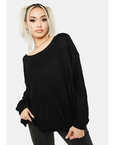 Midnight It's Bliss Oversized Knit Sweater