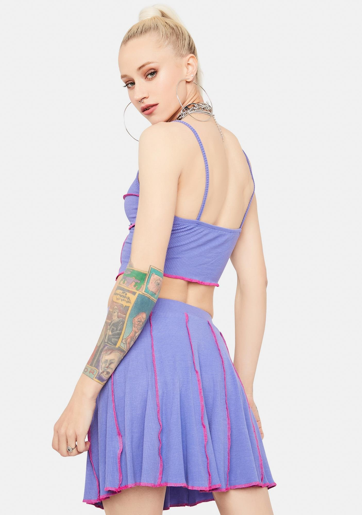 Lavender All The Vibes Contrast Stitch Skirt Set