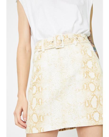 Brown Snake Belted Mini Skirt