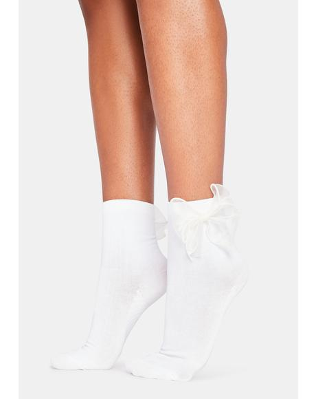 Ivory Take Some Time Bow Socks