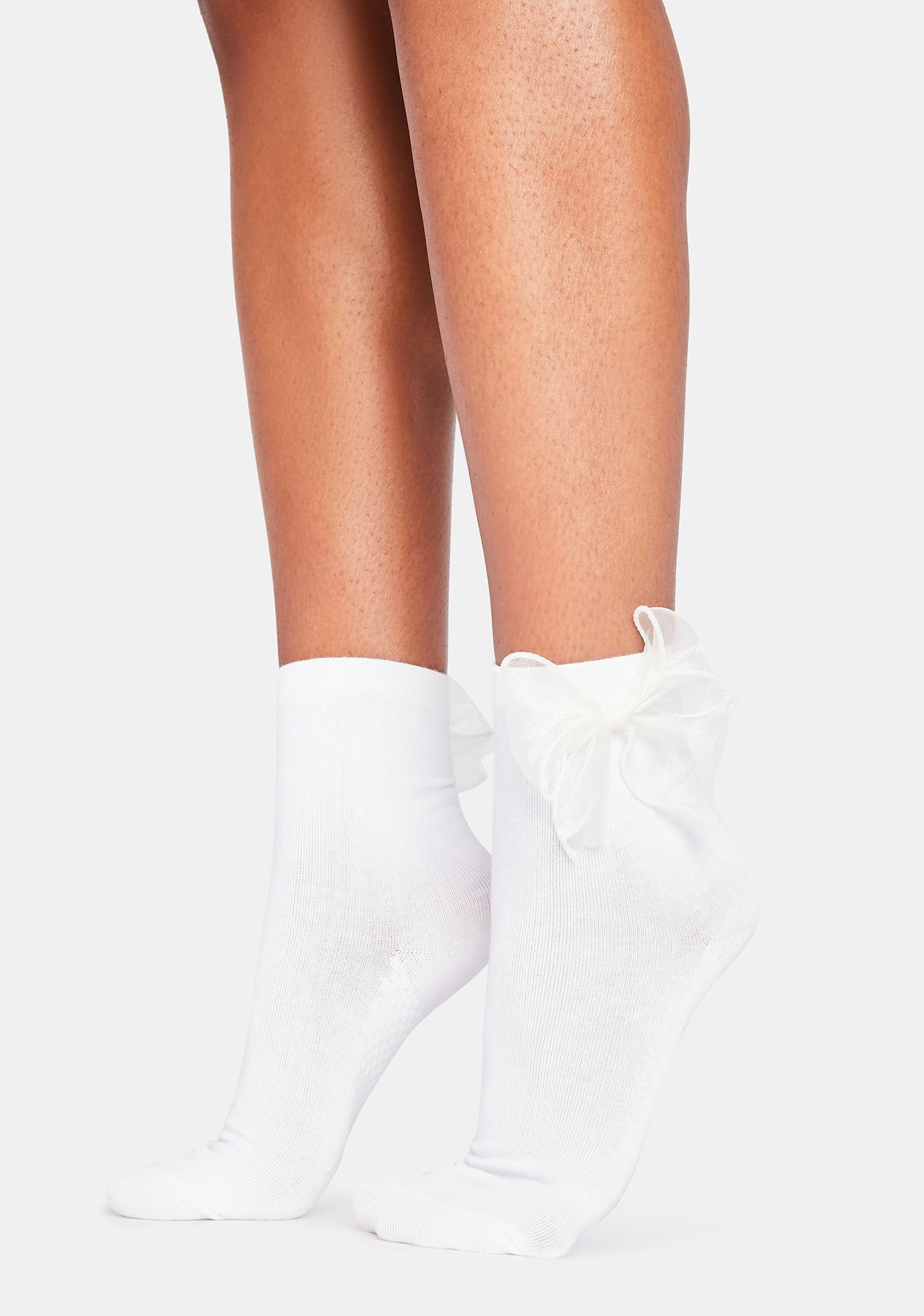 Ivory Take Some Time Bow Socks
