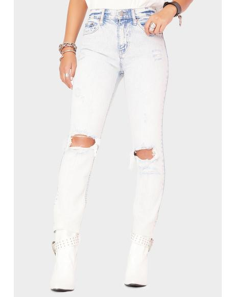 Partly Cloudy Straight Up Distressed Denim Jeans