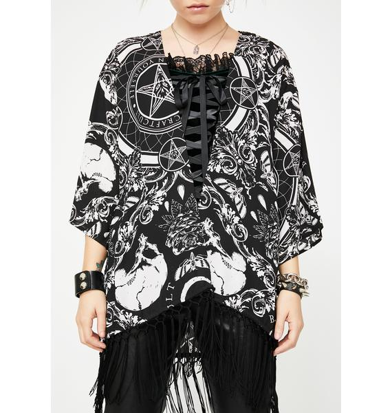 Blackcraft Baroque Print Kimono