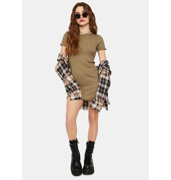 Olive Don't U Want Me Lettuce Hem Bodycon Dress