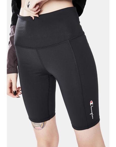 Black High Rise Biker Shorts