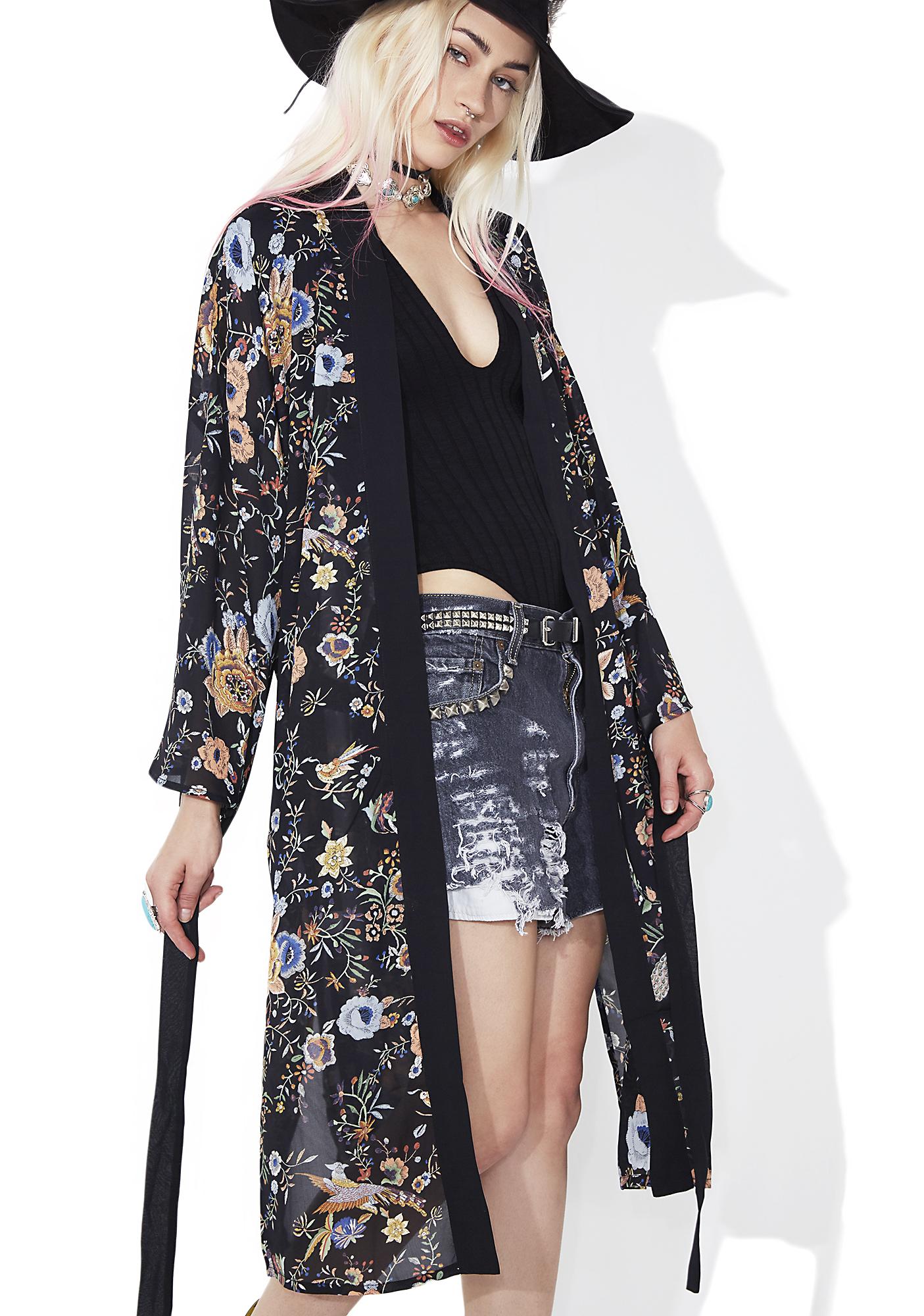 Sheer Black Floral Maxi Kimono